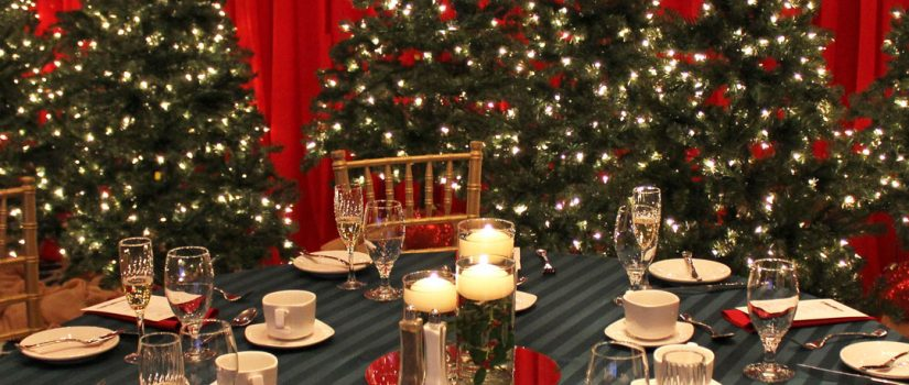 Christmas party decoration with christmas tree and holiday table decor