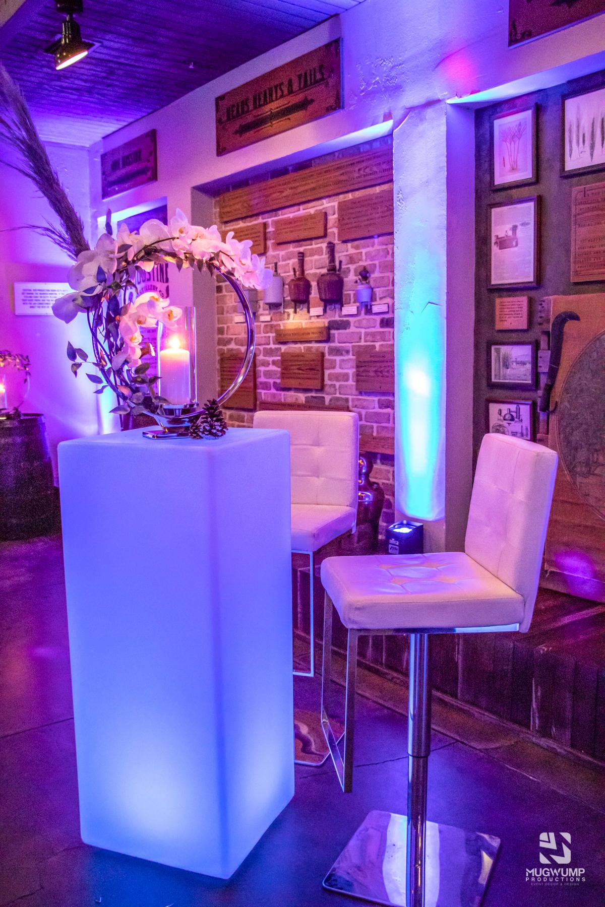 Glow Highboy Table Rental