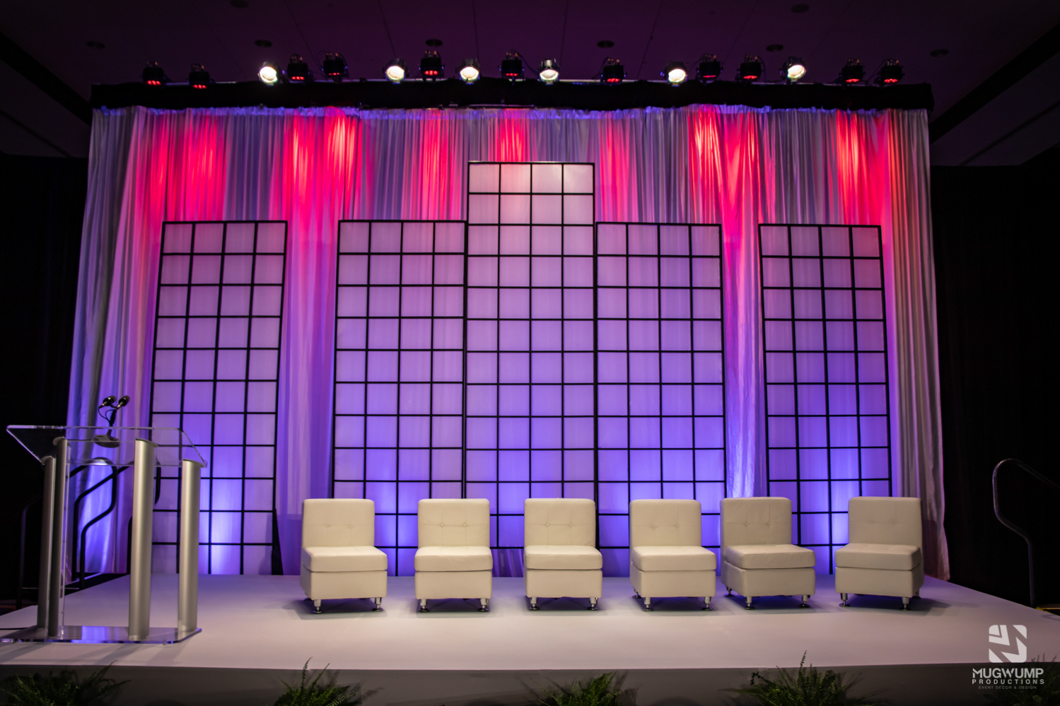 Event rentals set up for a panel event