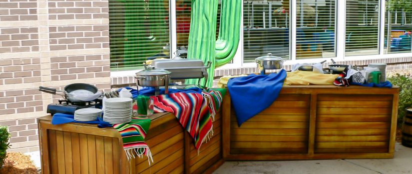 Mexican fiesta themed event with a food buffet