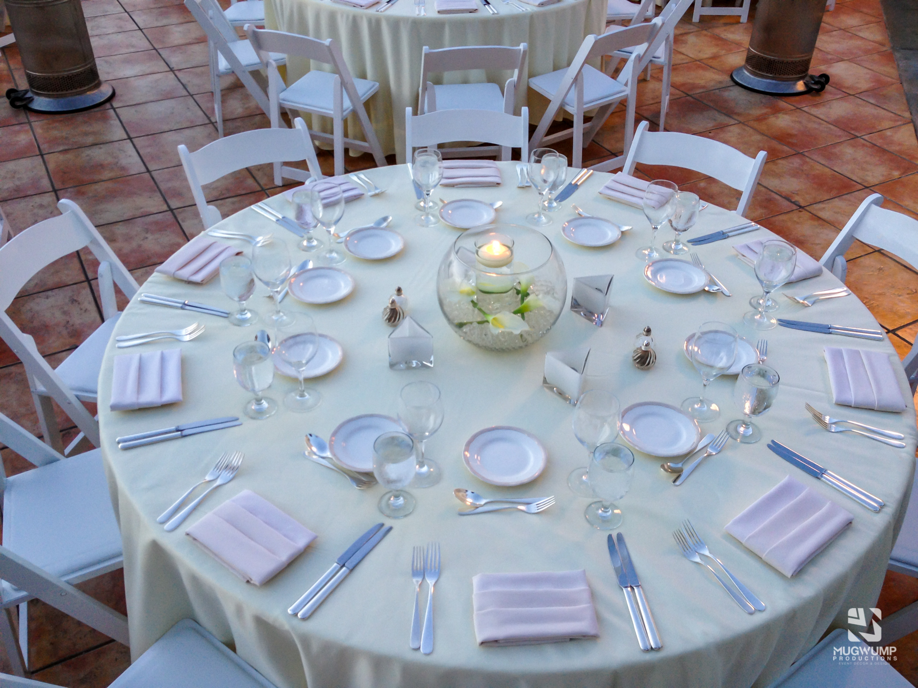 Chair and table rental with decor rentals