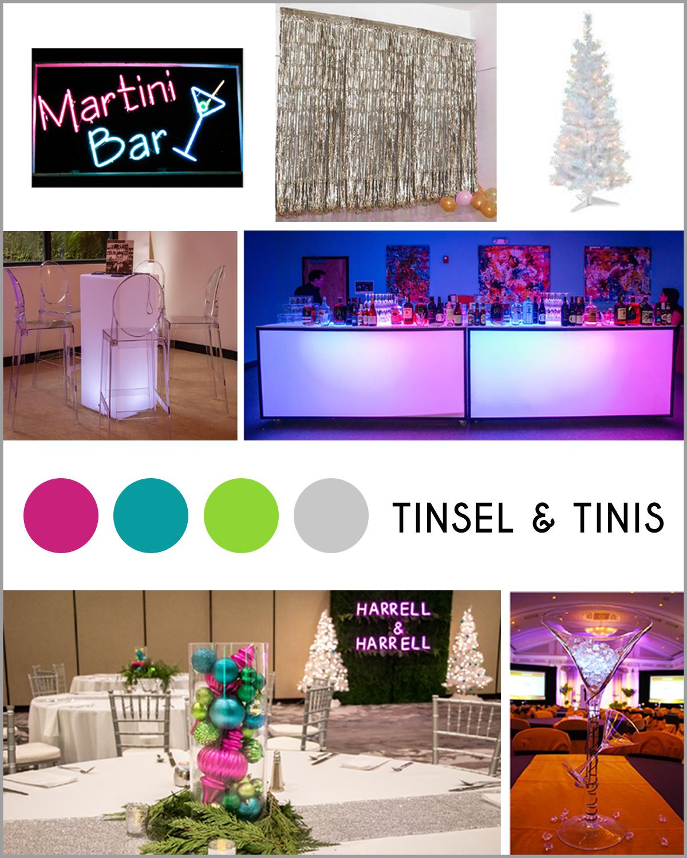 Glam Christmas theme event decor rentals