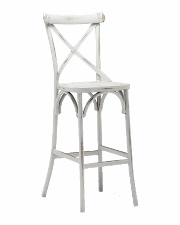 Whitewashed Crossback Barstool